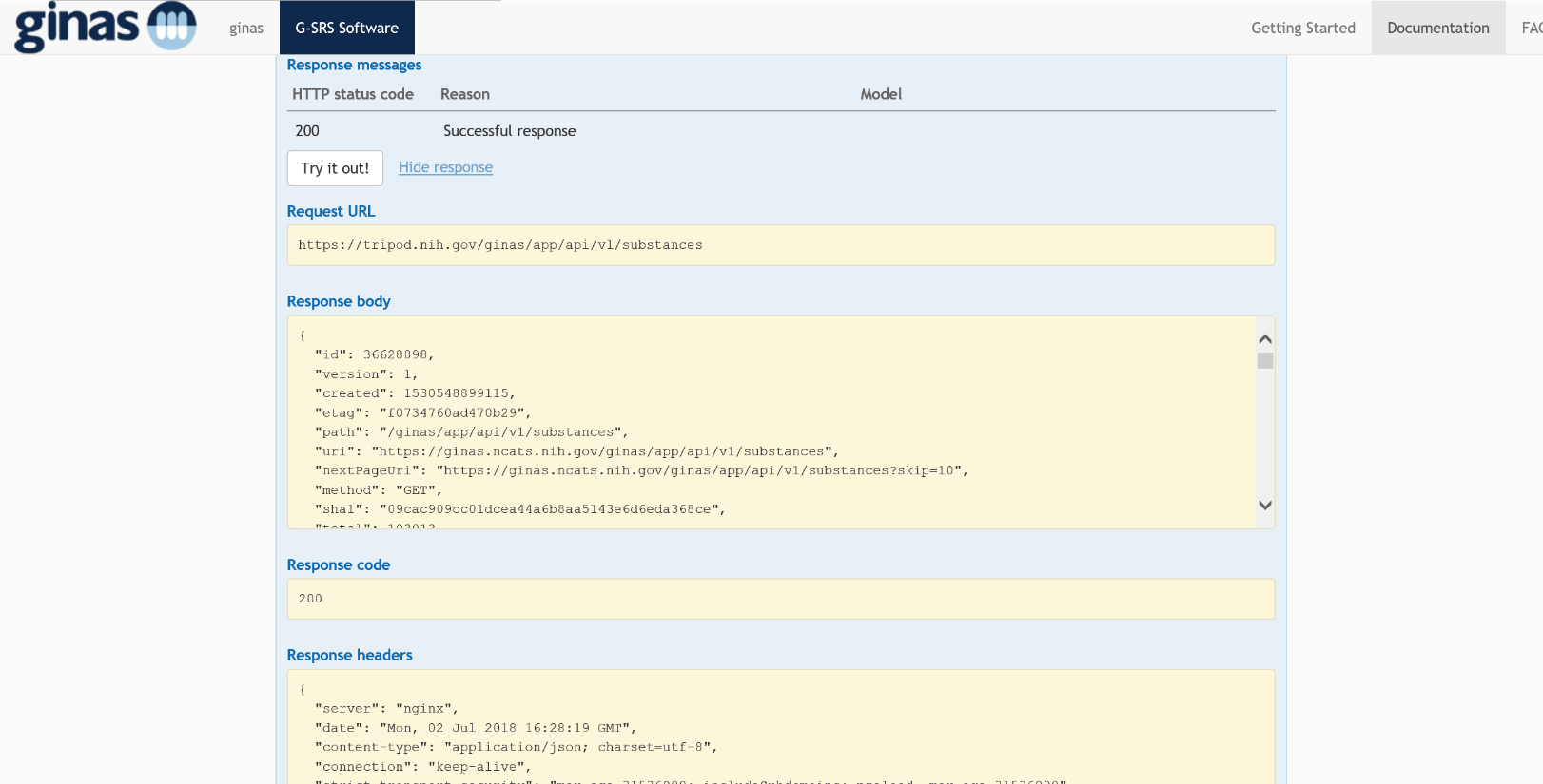 G-SRS API Example